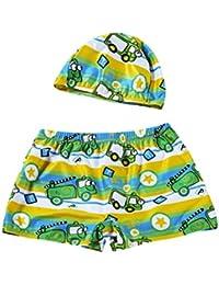 69f77a22d4153 Logobeing Conjunto Infantil de Traje de Baño Pantalones Cortos + Gorro  Vacaciones Playa Verano