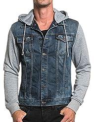 BLZ jeans - Veste homme bi-matière bleu délavé à capuche