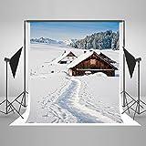 ycnet Winter Foto Hintergrund klappbar Baumwolle keine Falten Outdoor nahtlos Weihnachtsbaum Schnee Road Chalet Foto Hintergrund für Fotografen