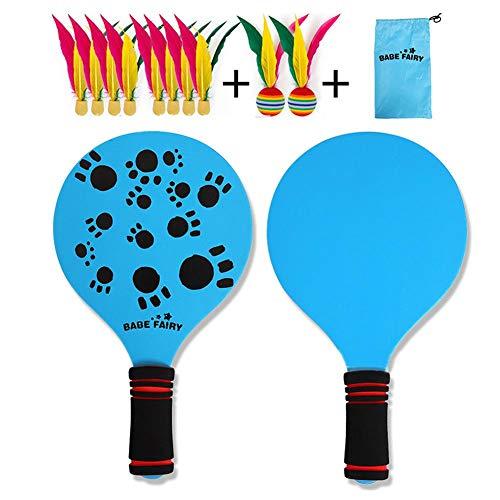 fllyingu Beach Badmintonschläger, Beach Paddleball Set Mit Wind Birdie Und Tragetasche, Beachball-Schläger-Cricketball, Indoor-Outdoor-Spiel - Gespielt In Parks, Strand, Rasen, Hof (Paddle-pool-spiel)