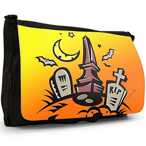 Fancy A Bag Borsa Messenger nero Halloween Pumpkin Wearing Witch's Hat Bats in Graveyard on Halloween with Full Moon