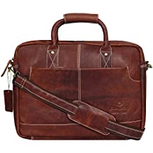 """OMAX Smart 100% Handmade Genuine Large Compartment High Quality Brown Pure Leather Vintage Messenger Laptop Bag for Men, Size 16"""" Length x 12"""" Width x 4"""" Depth - LTHRMSN51"""