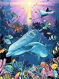 BBINGK Diamant Malerei Diamant Stickerei Tier 5D DIY Diamant Malerei Dolphin Bohren Voll Mosaikbild Wohnkultur,50 * 70Cm,Round Drill