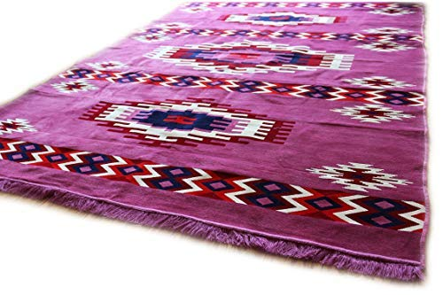 (Damaskunst Neu Violet,lila,Weiß,Rot,Dunkel Rot,Dunkel Blau, Teppich 200 cm x 300 cm,Kelim Orient,Wand Teppich,Carpet, Rug, S 1-6-80)