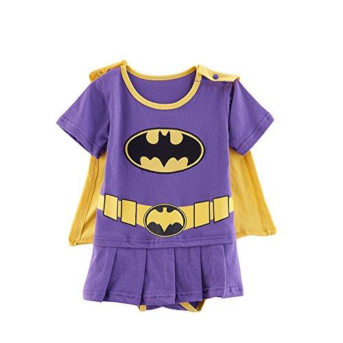 (Batgirl Batman 0-6 Monate Caped Baby Kleinkind Mädchen Spielanzug Party Spiel Kleid Outfit)