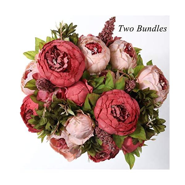 JUSTOYOU Pack de 3 Artificial Fake Cute Peony Silk Hydrangea Bouquet Grave Home Spring Beautiful Hydrangea Artificial…