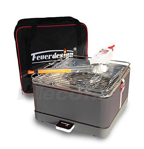 Holzkohle Tischgrill TEIDE - Rauchfrei - v. Feuerdesign - Grau, im Spar Pack mit Grill-Zubehör