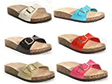 Ladies ELLA Marina Patent Faux Leather Buckle Slip On Peep Toe Flat Cork Flip Flop Mule Sandals Size 3-8
