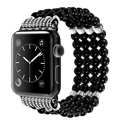 Apple Watch Armband Elastische Smart iwatch Uhrenarmbänder Handgefertigt Faux Perle Armband iWatch Series 3 Series 2 and Series 1 38mm schwarz