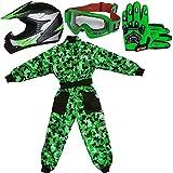 Leopard LEO-X19 Verde Casco de Motocross para Niños (M 51-52cm) + Gafas + Guantes (M 6cm) + Camo Traje de Motocross para Niños - XL (11-12 Años)