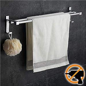 Wangel Doppel-Handtuchstange Handtuchhalter ohne Bohren 60cm, Patentierter Kleber + Selbstklebender Kleber, Aluminium, Matte Finish