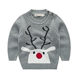 Suéter para Niños Navidad Muchachas de Los Bebés de Punto del Suéter del Invierno Tops Camiseta de los Niños Mangas Largas 1-2 años, Azul 10