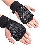 kingnew Fitness Handschuh Handgelenkriemen Handschuhe Unterstützung für Gewichtheben, Cross Training, Fitness, für Damen Herren (schwarz, L)