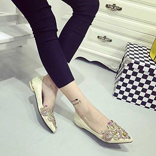 GS~LY Scarpe da donna piatta brillante colore punto maglia meters white