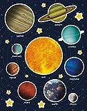 APLI Kids - Bolsa de gomets sistema solar, 12 hojas adhesivo removible