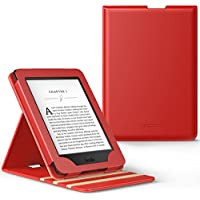 MoKo Kindle Paperwhite Funda - Premium Vertical Flip Smart Cover Case con Auto-Sueño / Estela para Amazon All-New Kindle Paperwhite (Compatible con 2012, 2013, 2015 y 2016), No es compatible para All-new Paperwhite 10th generation 2018 Rojo