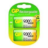 Akku Batterien NiMH D / Mono / HR20 / MN1300, hohe Kapazität 9000mAh, 1,2V (GP Batteries 2 Stück)