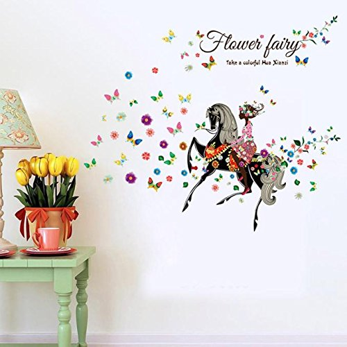 ODJOY-FAN Pittura Impermeabile Decorazione Adesivo da Parete New Flower Fairy Adesivi Fai Te Piccoli Angelo Fata Pareti del Soggiorno della Camera Letto-Parete Removibile Muro Decorazioni