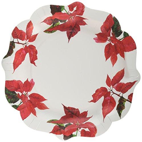 Talking Tables Botanical Poinsettia design piatto di carta 27,9cm per feste e cene di Natale, rosso e bianco (12pezzi)