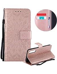 Gurt Brieftasche für Huawei P20 Pro,Rose Gold Handyhülle für Huawei P20 Pro,Moiky Ziemlich Schöne Mandala Sonnenblume Geprägt Klappbar Kartenfächer Stoßdämpfende Ledertasche mit Stand
