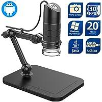 Microscopio digital, Yupro 20X a 1000X 8LED 2MP microscopio USB con soporte de observación de brazo flexible, cámara de video, para Android / Windows