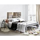 Aingoo-Lit-Double-en-Mtal-Design-pour-2-personnes-Cadre-de-Structure-Mtallique-190x135cm-Blanc