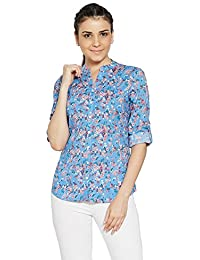 Bombay High Women's 100% Cotton Floral Printed Roll Up Sleeves Shirt