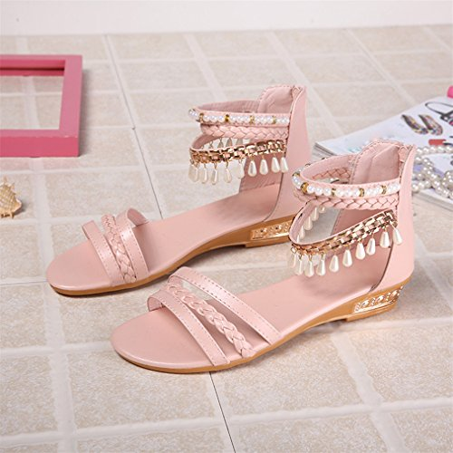 Vovotrade Sommer Elegante Plattform Schuhe Frau Perle Wedges Sandalen Casual Schuhe Rosa