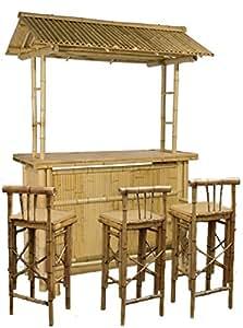 4tlg bar rivas bambus theke tresen barhocker outdoor garten. Black Bedroom Furniture Sets. Home Design Ideas