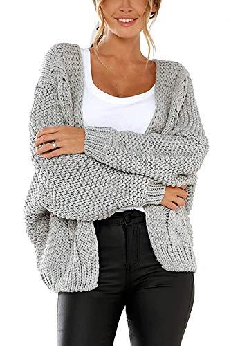 Modfine Damen Strickjacke Strickcardigan Grobstrick Cardigan,Frauen Langarm Pullover Strickmantel Lässig Casual Strick Mantel Einfarbig Open Front Outwear