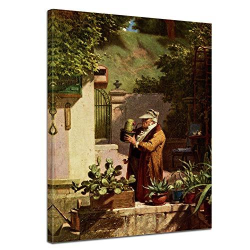 Wandbild Carl Spitzweg Der Kaktusfreund - 50x70cm hochkant - Wandbild Alte Meister Kunstdruck Bild auf Leinwand Berühmte Gemälde (Meister Szene)