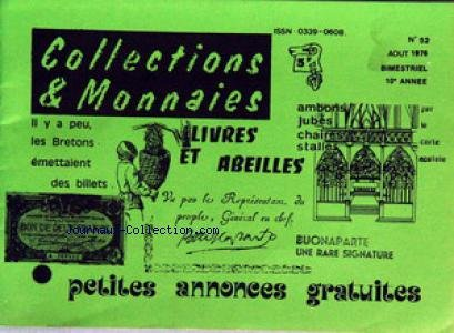 COLLECTIONS ET MONNAIES [No 52] du 01/08...