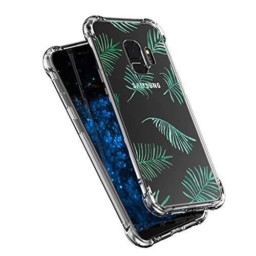 nt Schutzhülle für Samsung Galaxy S9 Hülle Silikon Ultradünn Transparent Anti-Kratzen TPU Handyhülle Muster Design für Mädchen Gemalt Case - Grünes Blatt ()