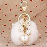du lijun Corea creativos Peluche bola Perlas adornos Peluche femeninos Bolsa Colgante Joyas Accesorios Auto de llavero, B