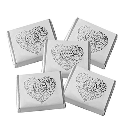 Schokotäfelchen Romantik mit silbernem Herz als Gastgeschenk zur Hochzeit oder einfach nur so Hochzeit Schokolade