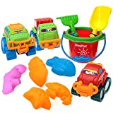 SINACO Beach Toy Set of 11 Pieces with Bucket and Truck Toys for Toddlers Outdoor Backyard Sand Activity