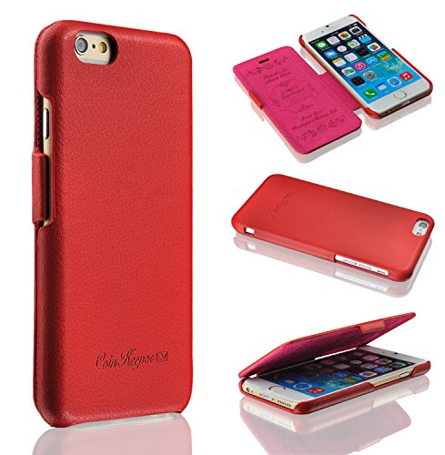 Coin Keeper-Fatto a mano in vera pelle iPhone 5/5S Tunica-100%-Magnete design trasparente in omaggio, Pelle, red, iPhone 6 Plus