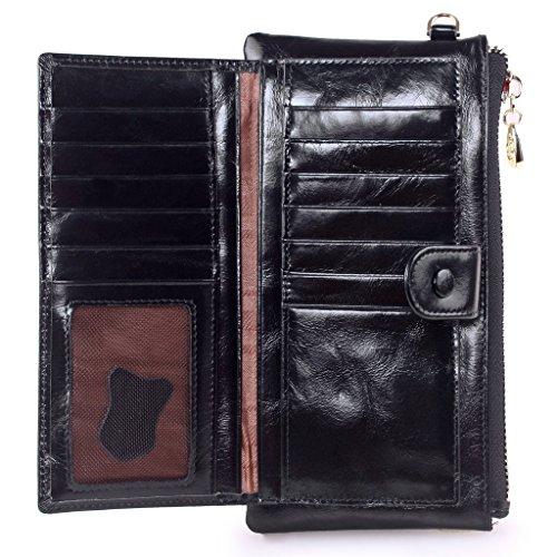 Yvonnelee Delle donne del cuoio genuino portafogli borsa esclusiva Long Bifold cassa Nero