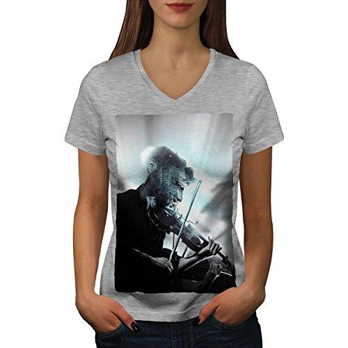 wellcoda Geige Musiker Kunst Musik Frau S V-Ausschnitt T-Shirt