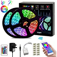 L8star LED Strips Lights, Color Changing Light Strip SMD 5050 RGB Rope Lights with Bluetooth Controller Apply for TV, Bedroom, Party and Home Decoration (32.8ft)
