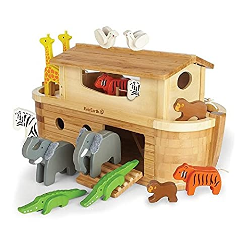 EverEarth High Quality Giant Wooden Noah's Ark with 14 Characters for Kids 3 Years Up