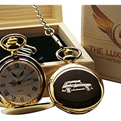 Black Cab Taxi Gold Pocket Watch Full Hunter with Chain Luxury Gift Box Taxi Drivers Gifts