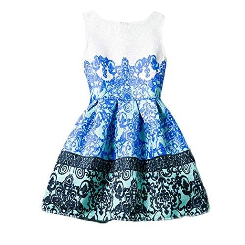 Baby Mädchen Kleid,Amlaiworld Sommer Kleid ärmel Printed Prinzessin Kleid Teenager Kind Kleidung (150, (Für Teenager Kleider Prinzessin)