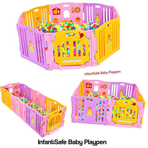 infantsafe Plastic Baby Playpen Large Indoor Outdoor Use - Strong, Easy to Assemble Slot in Panels - No Fixings Required