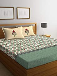 Portico New York Shalimaar Cotton Super King Double Bedsheet With Pillow Cover- 274X274 CM- 8045521