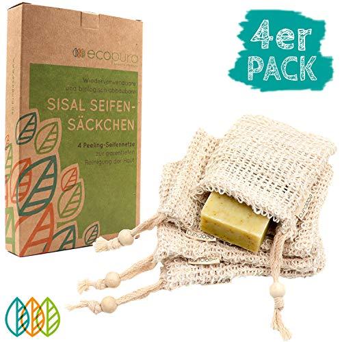 ecopura® Sisal Seifensäckchen - 4er Set Seifenbeutel für Seifen & Seifenreste, Ideal zum Aufschäumen & Trocknen der Seife, Peeling & Massage - Plastikfrei, Zero Waste, Ökologisch, Wiederverwendbar -