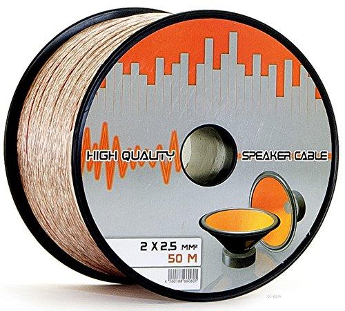 Lokmann 50 Meter 2 x 2,5 mm² Lautsprecherkabel CCA-Kupfer Transparent PVC- Dielektrikum Speaker Hifi Boxen Cable (50m, 2x2,5mm)