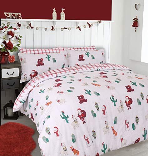 Lyallpur natale festive set copripiumino in policotone con di biancheria da letto, santa's friends, king