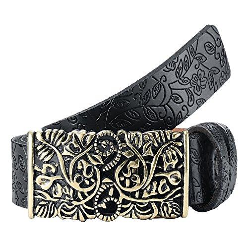 Gwood Damen Gürtel Mode Leder Jeansgürtel im Vintage Style in mehreren Farben (110cm, Schwarz)
