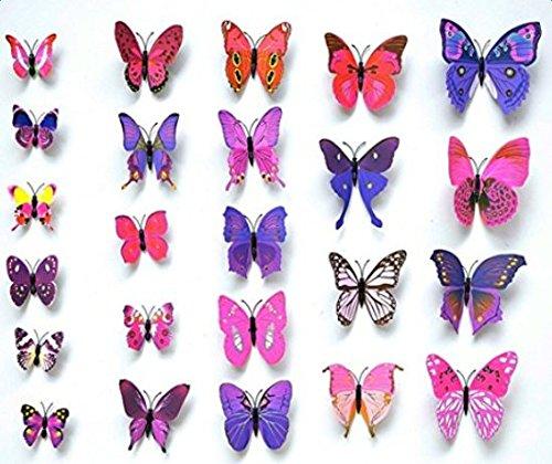Kentop 3D Pegatinas de Mariposa DIY Decoración con Pines Arte Cortina Decoración,12 pcs